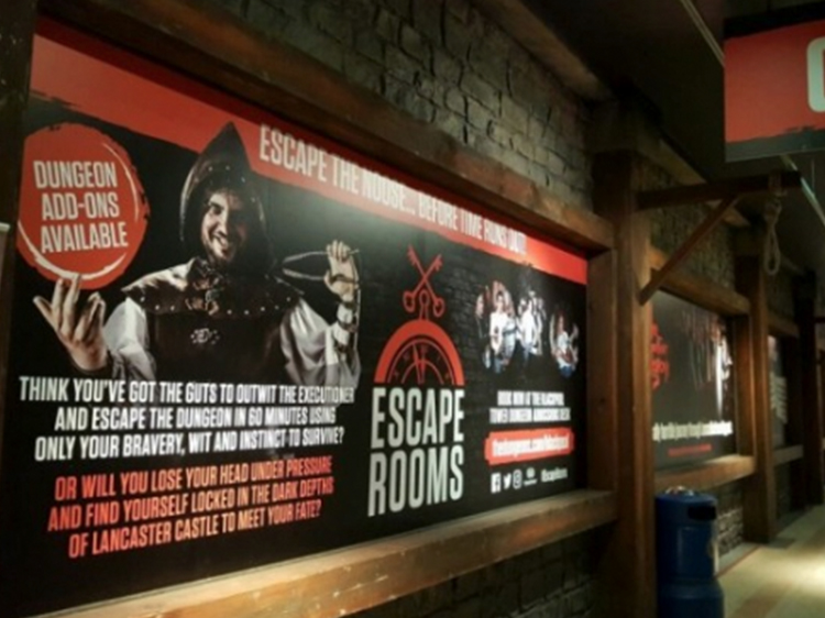 Escape Rooms Signage Lancaster Castle Wall Graphics Banner