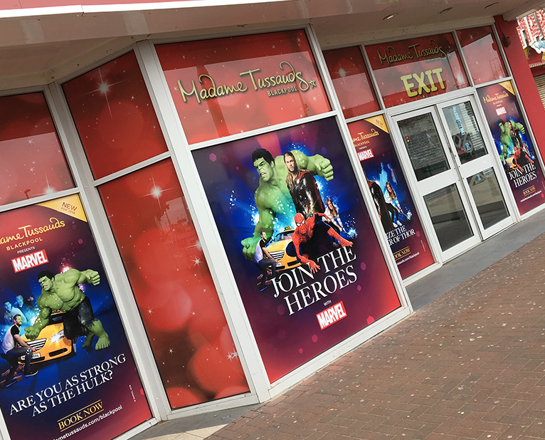 madame tussauds blackpool marvel window graphics