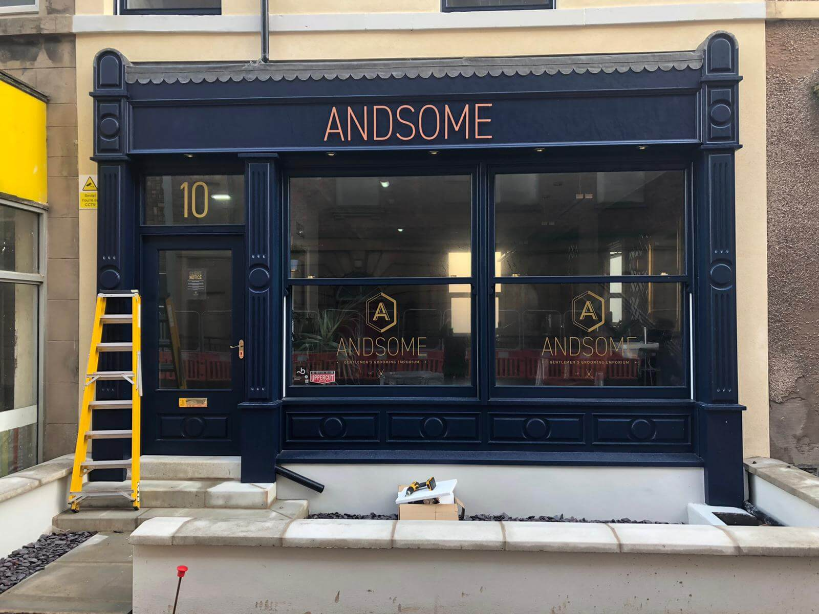 fascia sign external sign andsome barbers blackpool