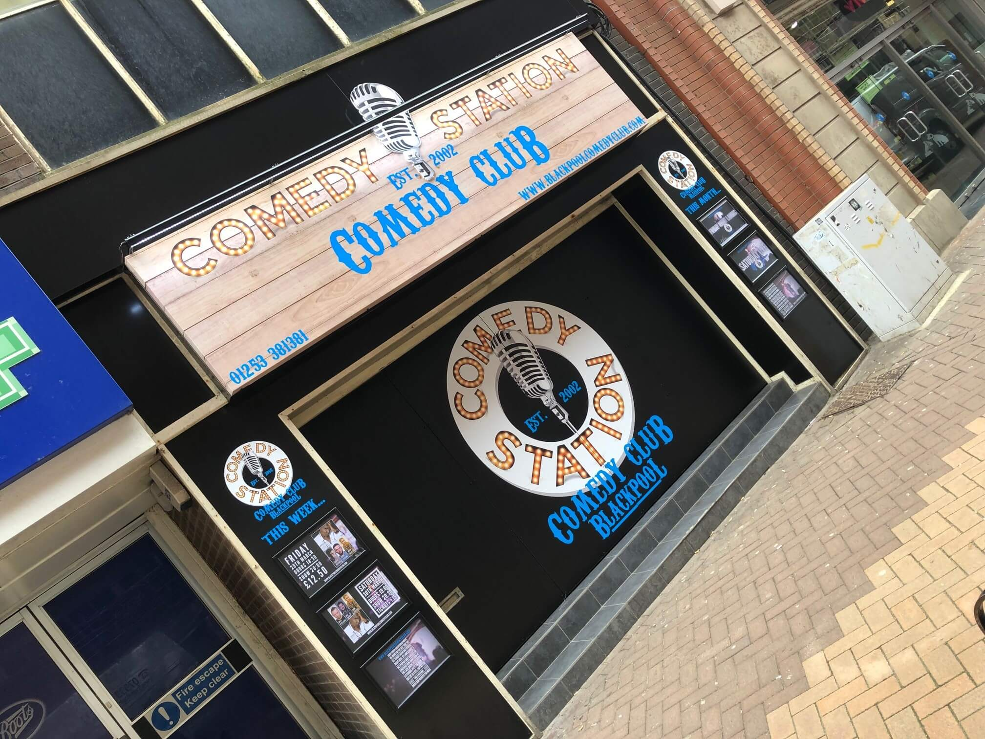 The comedy club blackpool external sign