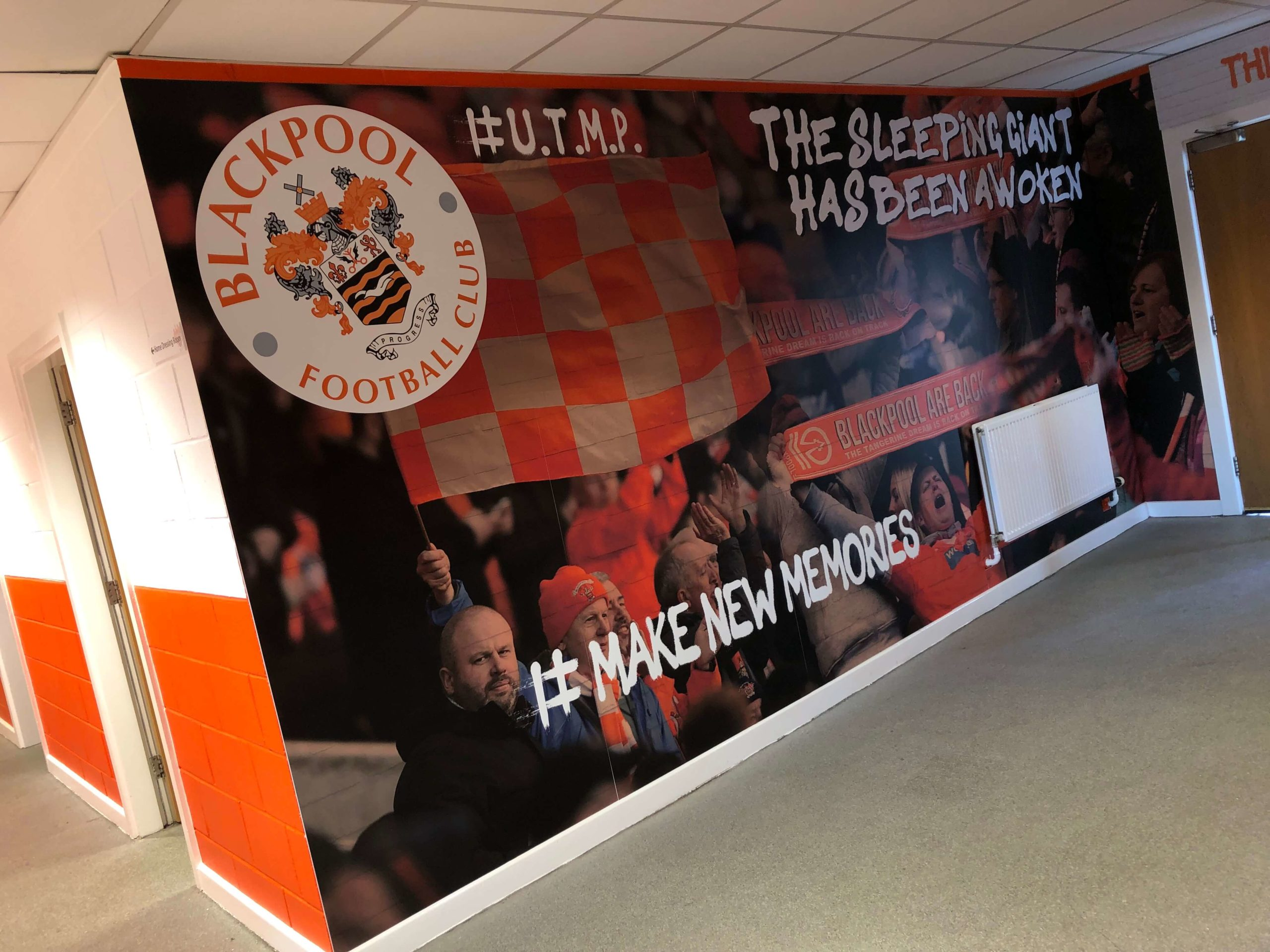 tunnel graphics scaled blackpool football club wallcovering