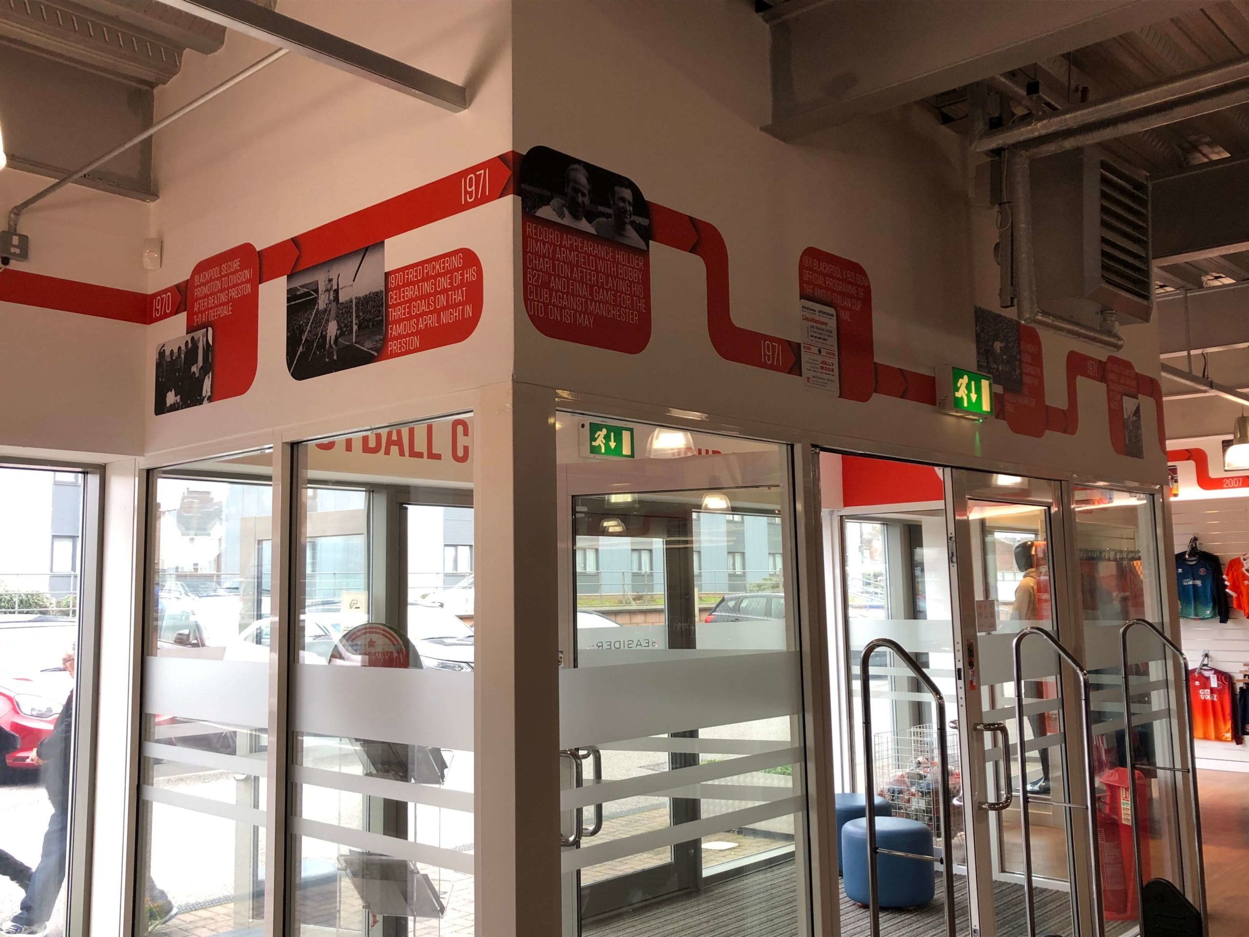 wall timeline graphics blackpool football club