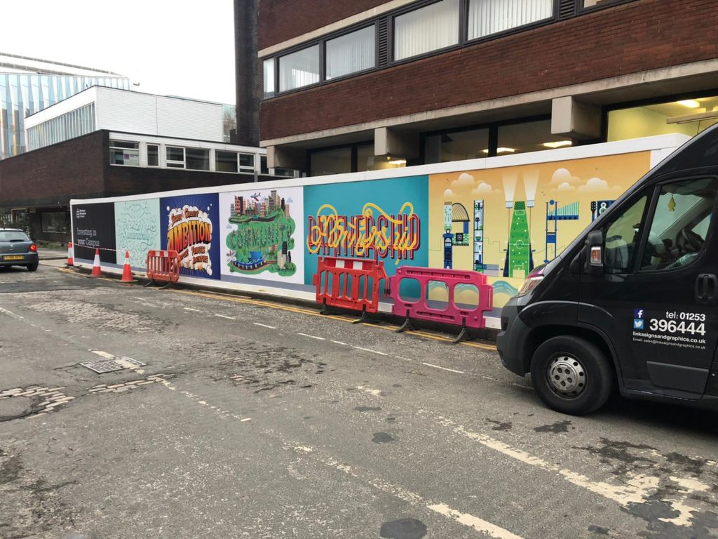 manchester met university hoarding graphics