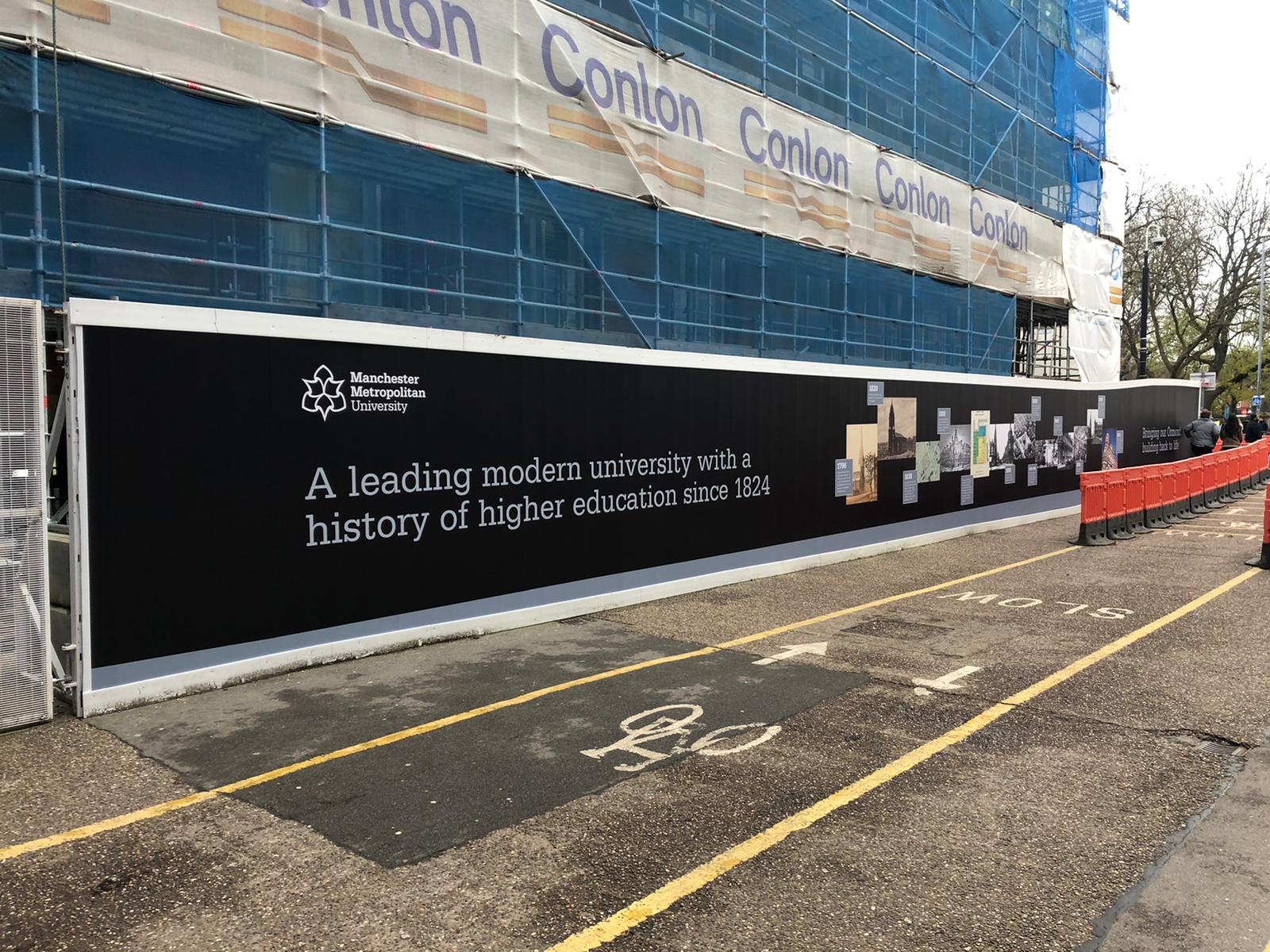 Manchester MET uni hoarding graphics